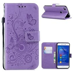 Intricate Embossing Butterfly Circle Leather Wallet Case for Huawei P8 Lite 2017 / P9 Honor 8 Nova Lite - Purple