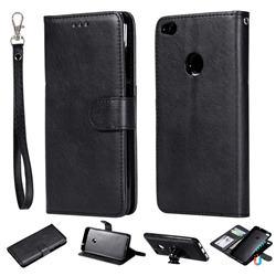 Retro Greek Detachable Magnetic PU Leather Wallet Phone Case for Huawei P8 Lite 2017 / P9 Honor 8 Nova Lite - Black