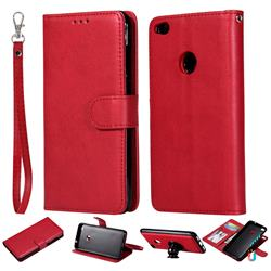 Retro Greek Detachable Magnetic PU Leather Wallet Phone Case for Huawei P8 Lite 2017 / P9 Honor 8 Nova Lite - Red