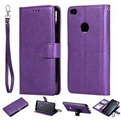 Retro Greek Detachable Magnetic PU Leather Wallet Phone Case for Huawei P8 Lite 2017 / P9 Honor 8 Nova Lite - Purple
