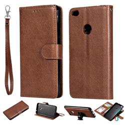Retro Greek Detachable Magnetic PU Leather Wallet Phone Case for Huawei P8 Lite 2017 / P9 Honor 8 Nova Lite - Brown