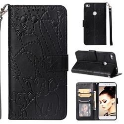 Embossing Fireworks Elephant Leather Wallet Case for Huawei P8 Lite 2017 / P9 Honor 8 Nova Lite - Black