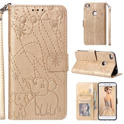 Embossing Fireworks Elephant Leather Wallet Case for Huawei P8 Lite 2017 / P9 Honor 8 Nova Lite - Golden