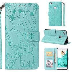 Embossing Fireworks Elephant Leather Wallet Case for Huawei P8 Lite 2017 / P9 Honor 8 Nova Lite - Green