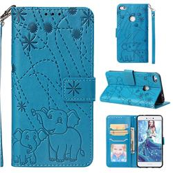 Embossing Fireworks Elephant Leather Wallet Case for Huawei P8 Lite 2017 / P9 Honor 8 Nova Lite - Blue
