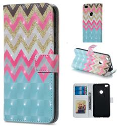 Color Wave 3D Painted Leather Phone Wallet Case for Huawei P8 Lite 2017 / P9 Honor 8 Nova Lite