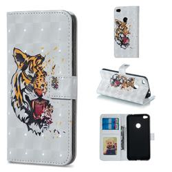 Toothed Tiger 3D Painted Leather Phone Wallet Case for Huawei P8 Lite 2017 / P9 Honor 8 Nova Lite