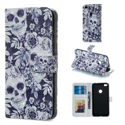 Skull Flower 3D Painted Leather Phone Wallet Case for Huawei P8 Lite 2017 / P9 Honor 8 Nova Lite