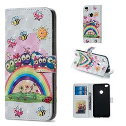 Rainbow Owl Family 3D Painted Leather Phone Wallet Case for Huawei P8 Lite 2017 / P9 Honor 8 Nova Lite