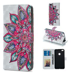 Mandara Flower 3D Painted Leather Phone Wallet Case for Huawei P8 Lite 2017 / P9 Honor 8 Nova Lite