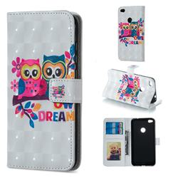 Couple Owl 3D Painted Leather Phone Wallet Case for Huawei P8 Lite 2017 / P9 Honor 8 Nova Lite