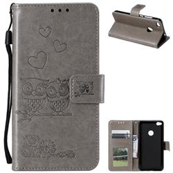 Embossing Owl Couple Flower Leather Wallet Case for Huawei P8 Lite 2017 / P9 Honor 8 Nova Lite - Gray