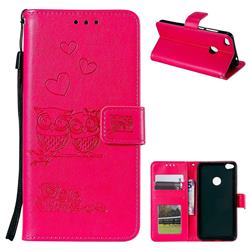 Embossing Owl Couple Flower Leather Wallet Case for Huawei P8 Lite 2017 / P9 Honor 8 Nova Lite - Red