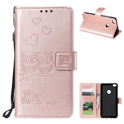 Embossing Owl Couple Flower Leather Wallet Case for Huawei P8 Lite 2017 / P9 Honor 8 Nova Lite - Rose Gold