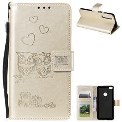 Embossing Owl Couple Flower Leather Wallet Case for Huawei P8 Lite 2017 / P9 Honor 8 Nova Lite - Golden