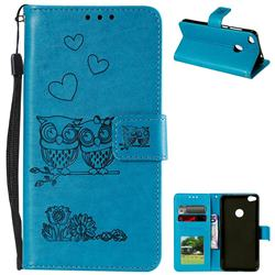 Embossing Owl Couple Flower Leather Wallet Case for Huawei P8 Lite 2017 / P9 Honor 8 Nova Lite - Blue