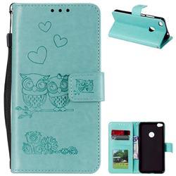 Embossing Owl Couple Flower Leather Wallet Case for Huawei P8 Lite 2017 / P9 Honor 8 Nova Lite - Green