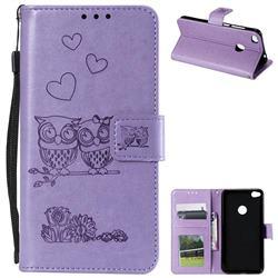 Embossing Owl Couple Flower Leather Wallet Case for Huawei P8 Lite 2017 / P9 Honor 8 Nova Lite - Purple