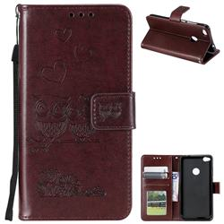 Embossing Owl Couple Flower Leather Wallet Case for Huawei P8 Lite 2017 / P9 Honor 8 Nova Lite - Brown