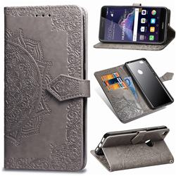 Embossing Imprint Mandala Flower Leather Wallet Case for Huawei P8 Lite 2017 / P9 Honor 8 Nova Lite - Gray
