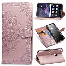 Embossing Imprint Mandala Flower Leather Wallet Case for Huawei P8 Lite 2017 / P9 Honor 8 Nova Lite - Rose Gold