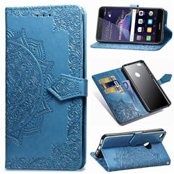 Embossing Imprint Mandala Flower Leather Wallet Case for Huawei P8 Lite 2017 / P9 Honor 8 Nova Lite - Blue