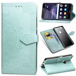 Embossing Imprint Mandala Flower Leather Wallet Case for Huawei P8 Lite 2017 / P9 Honor 8 Nova Lite - Green