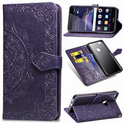 Embossing Imprint Mandala Flower Leather Wallet Case for Huawei P8 Lite 2017 / P9 Honor 8 Nova Lite - Purple