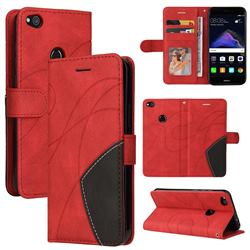 Luxury Two-color Stitching Leather Wallet Case Cover for Huawei P8 Lite 2017 / P9 Honor 8 Nova Lite - Red