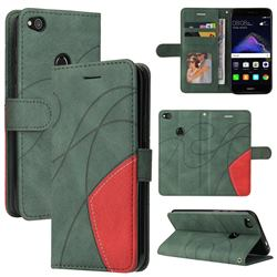 Luxury Two-color Stitching Leather Wallet Case Cover for Huawei P8 Lite 2017 / P9 Honor 8 Nova Lite - Green