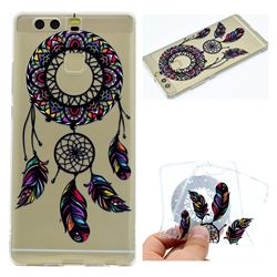 Feather Black Wind Chimes Super Clear Soft TPU Back Cover for Huawei P9