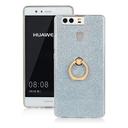 Luxury Soft TPU Glitter Back Ring Cover with 360 Rotate Finger Holder Buckle for Huawei P9 - Blue