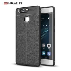 Luxury Auto Focus Litchi Texture Silicone TPU Back Cover for Huawei P9 - Black