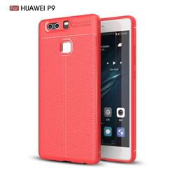 Luxury Auto Focus Litchi Texture Silicone TPU Back Cover for Huawei P9 - Red