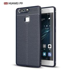 Luxury Auto Focus Litchi Texture Silicone TPU Back Cover for Huawei P9 - Dark Blue