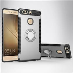 Armor Anti Drop Carbon PC + Silicon Invisible Ring Holder Phone Case for Huawei P9 - Silver
