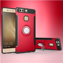 Armor Anti Drop Carbon PC + Silicon Invisible Ring Holder Phone Case for Huawei P9 - Red