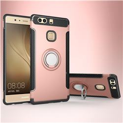 Armor Anti Drop Carbon PC + Silicon Invisible Ring Holder Phone Case for Huawei P9 - Rose Gold