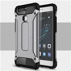 King Kong Armor Premium Shockproof Dual Layer Rugged Hard Cover for Huawei P9 - Silver Grey