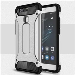 King Kong Armor Premium Shockproof Dual Layer Rugged Hard Cover for Huawei P9 - Technology Silver
