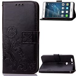 Embossing Imprint Four-Leaf Clover Leather Wallet Case for Huawei P9 - Black