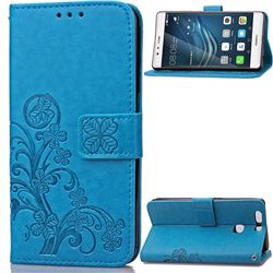 Embossing Imprint Four-Leaf Clover Leather Wallet Case for Huawei P9 - Blue