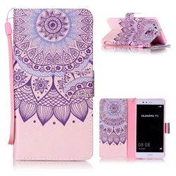 Purple Sunflower Leather Wallet Phone Case for Huawei P9