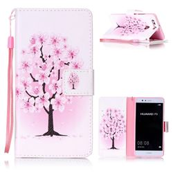 Peach Flower Leather Wallet Phone Case for Huawei P9