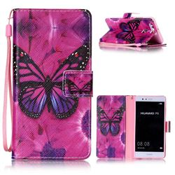 Black Butterfly Leather Wallet Phone Case for Huawei P9