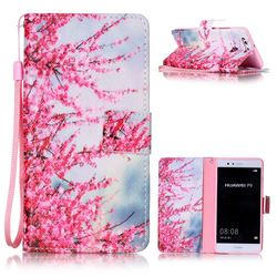 Plum Flower Leather Wallet Phone Case for Huawei P9