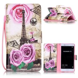 Rose Eiffel Tower Leather Wallet Phone Case for Huawei P9