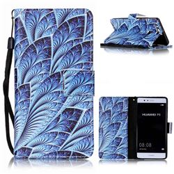 Blue Feather Leather Wallet Phone Case for Huawei P9