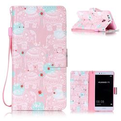 Pink Elephant Leather Wallet Phone Case for Huawei P9