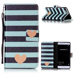 Blue Stripe Heart Leather Wallet Phone Case for Huawei P9